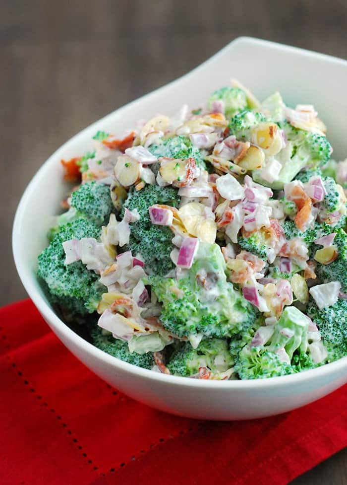 Broccoli Salad - Healthy, hearty and loaded with toasted almonds and crunchy bacon.