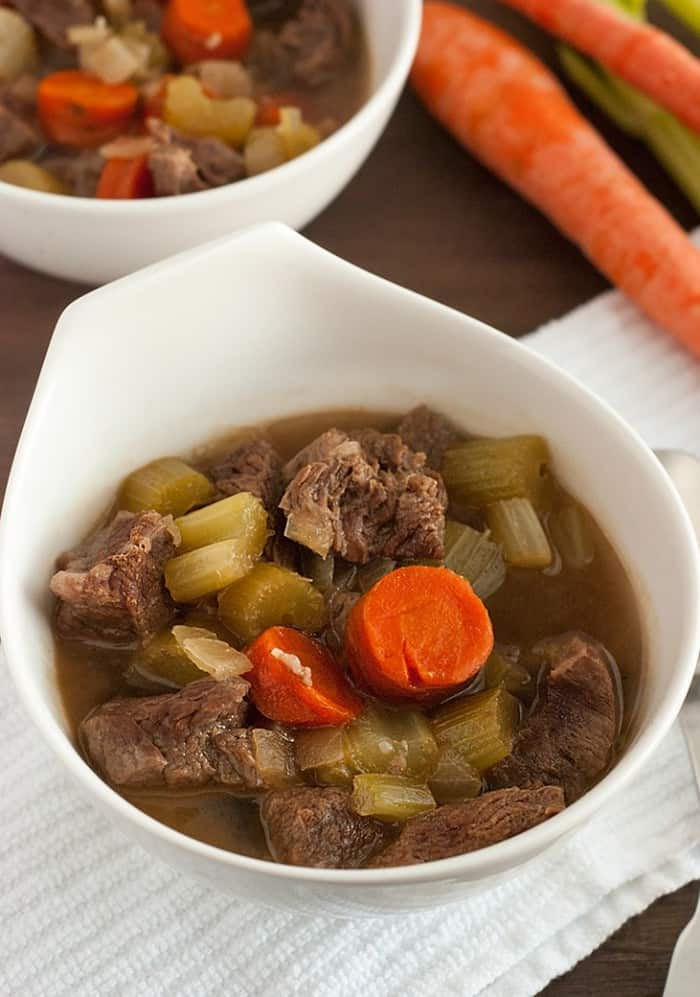 This is the BEST low carb friendly Beef Stew!  With juicy tender beef chunks that melt in your mouth and a glorious rich soup loaded with vegetables, it's the ultimate comfort food. @TheLowCarbDiet