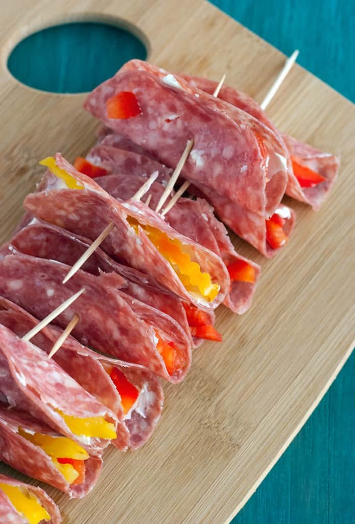 Salami & Cream Cheese Roll Ups - This party friendly appetizer would work great on a time crunch and its super flexible; add peppers, olive, or even pickles.