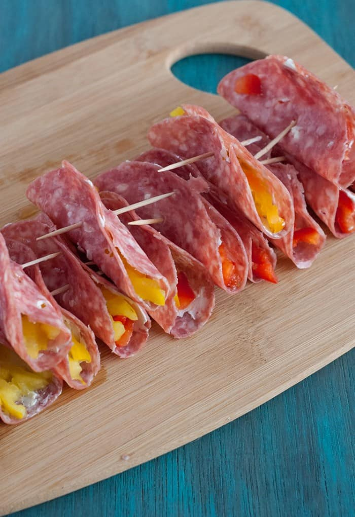 Party friendly Salami and Cream Cheese Roll Ups. Can't wait to try them!