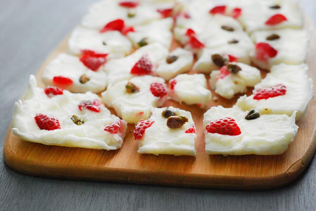 Low Carb Yogurt Bark - Sweet and salty yogurt bark. Enjoy this low carb friendly dessert this summer!