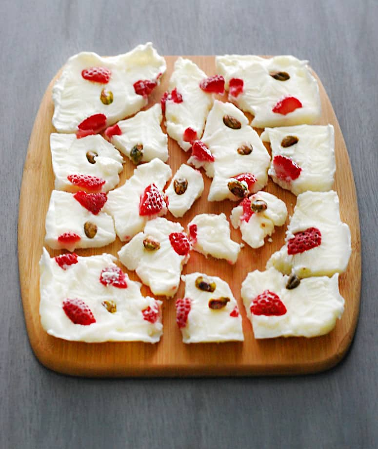 Yogurt Bark - Salty and sweet yogurt bark packs a real punch of flavor while remaining relatively healthy. Enjoy this low carb dessert this summer!