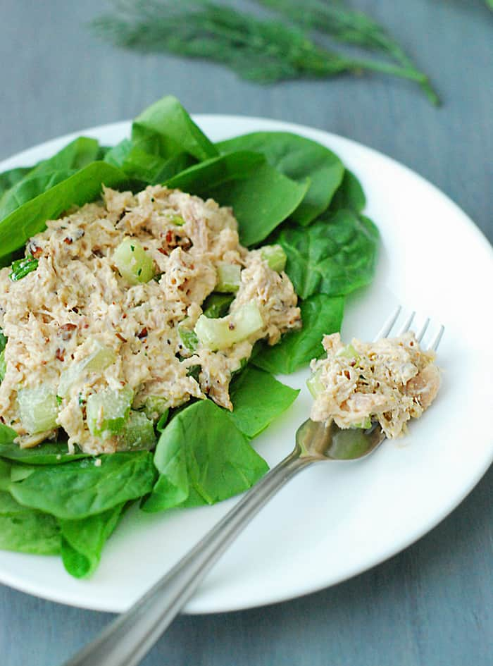 This low carb chicken salad is a total family favorite. Can't wait to make this!
