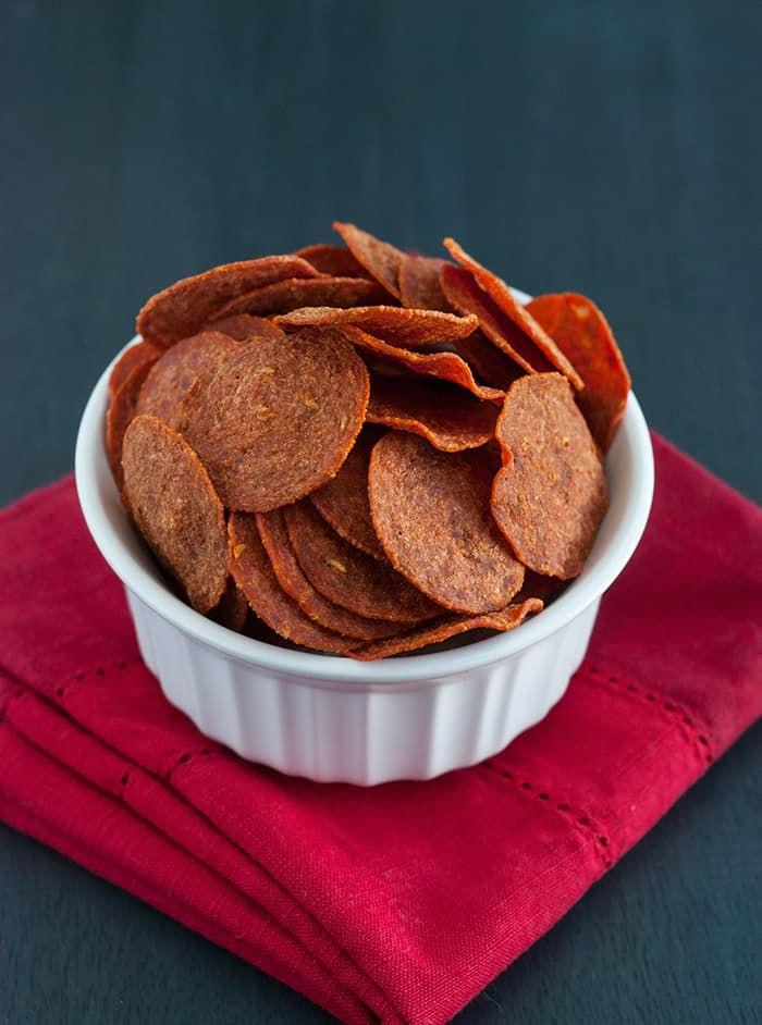 Forget potato chips! These deliciously crunchy pepperoni chips are the way to go!