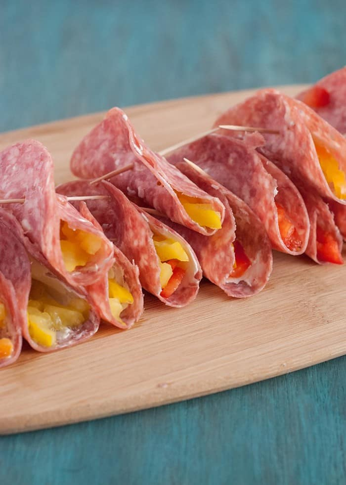 Salami & Cream Cheese Roll Ups - great as a snack or quick appetizer.